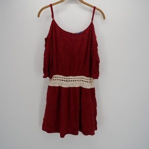 Willy Jay's Red Cold Shoulder Embroidered Dress